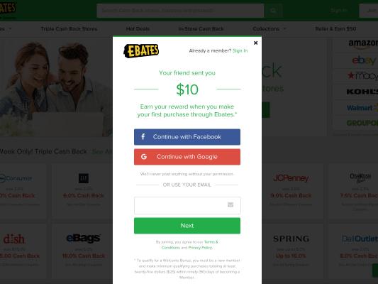 Get $10 FREE for Signup Plus Cash Back On Purchases