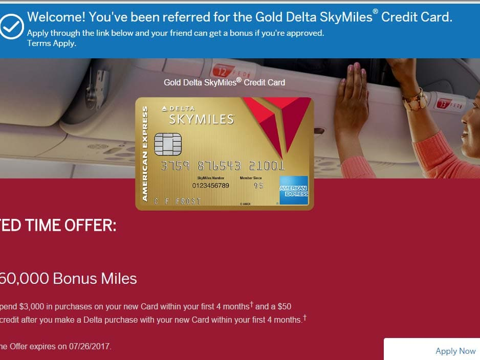 60,000 Bonus Miles with Delta Amex Gold and a $50 statement credit