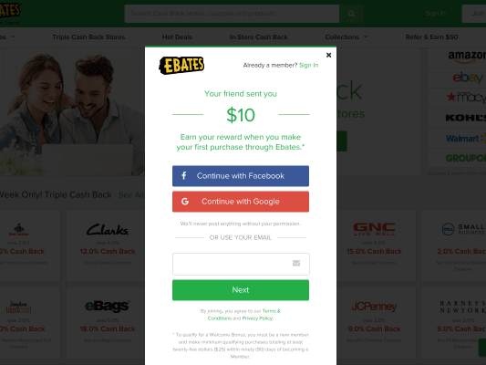 Get $10 for signing up and more cash as you shop