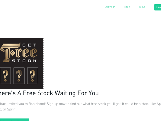 Get a free STOCK up to $500 for signing up for Robinhood! NO MIN DEPOSIT NOR CATCH! FREE TRADE AND NO COMMISSION!