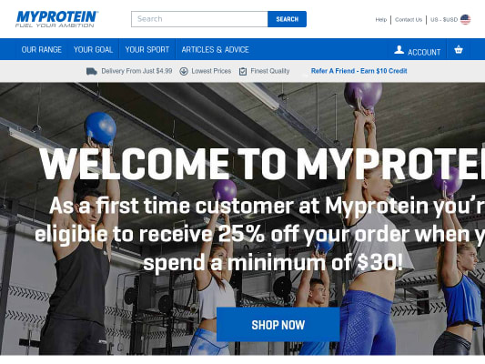 Get 25% your first order on myprotein