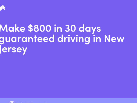 Make $800 in 30 days guaranteed driving in New Jersey