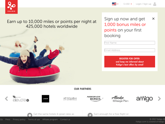 Sign up now and get 1,000 bonus miles or points on your first booking
