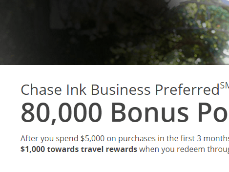 Earn 80,000 Ultimate Rewards Bonus ($1,000 value) when you get a Chase Ink Preferred Card
