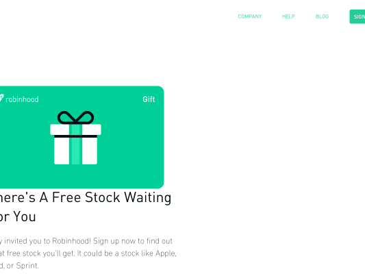 Free stock from Robinhood stock brokerage!