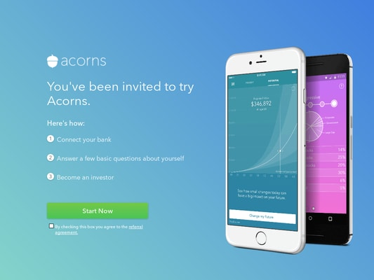 Use this invite to join Acorns, receive $5 free for joining.