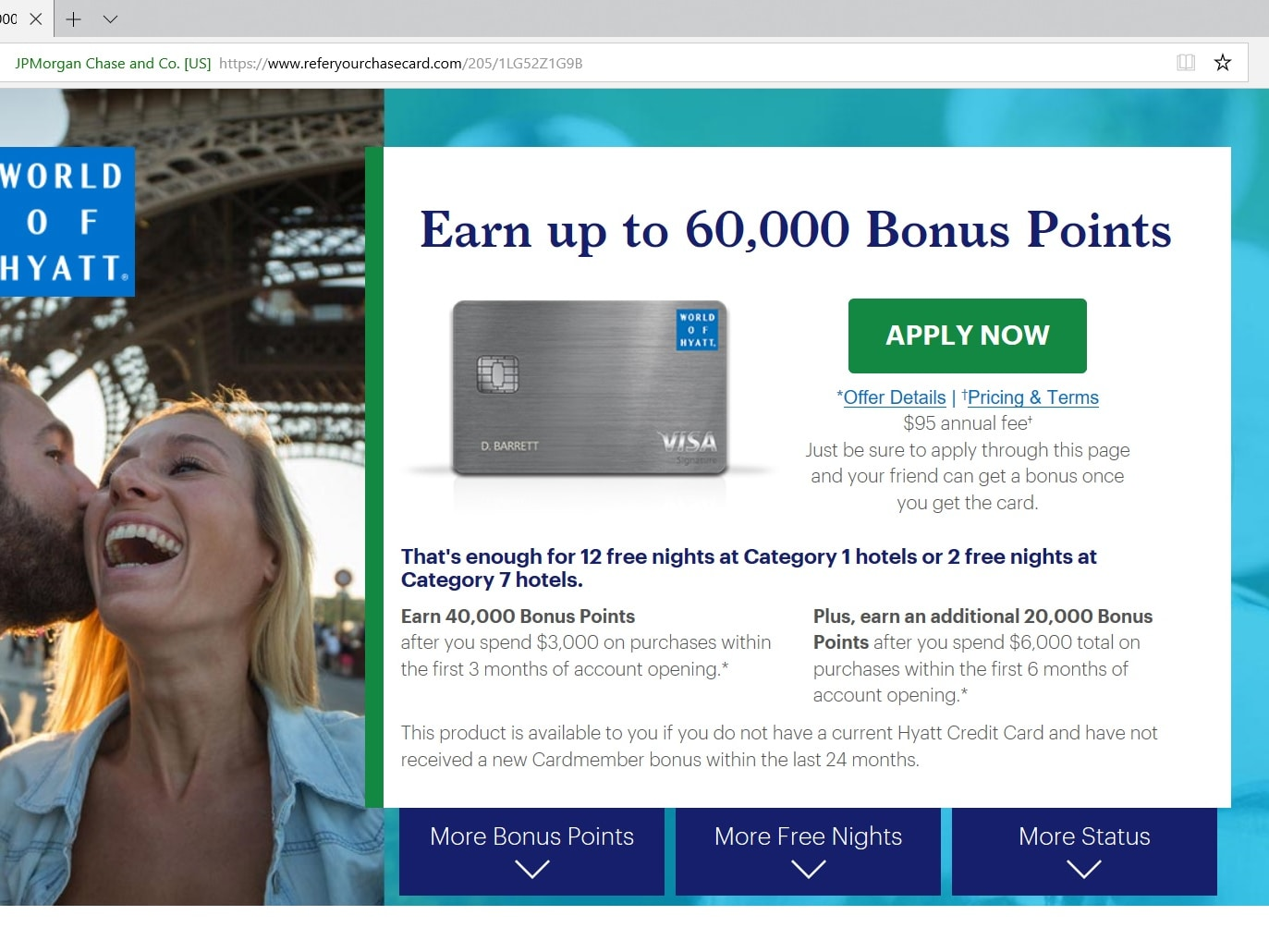 Chase World Of Hyatt Credit Card : 60,000 Hyatt Point Signup Bonus