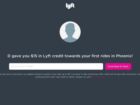 $15 in Lyft credit towards your first rides in Phoenix.