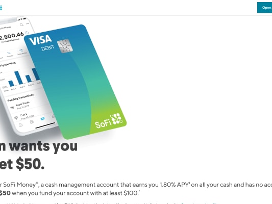 Get $50 if you sign up with my referral link and deposit $100 into a Sofi Cash Account