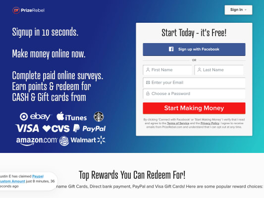 Sign up to prize rebel earn points for cash and giftcards