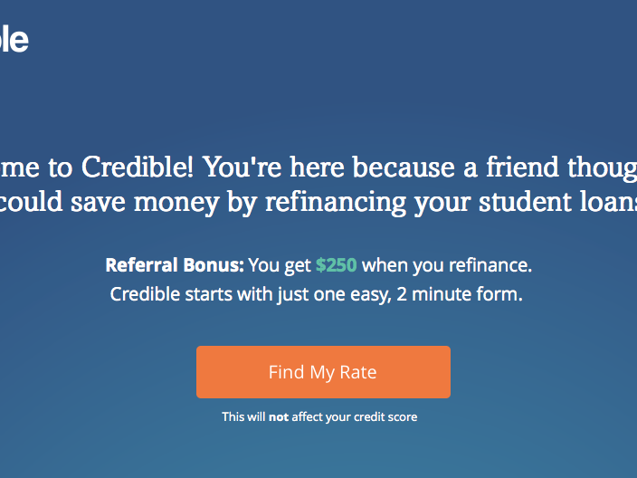 Receive $250 for refinancing a student loan through Credible using my link