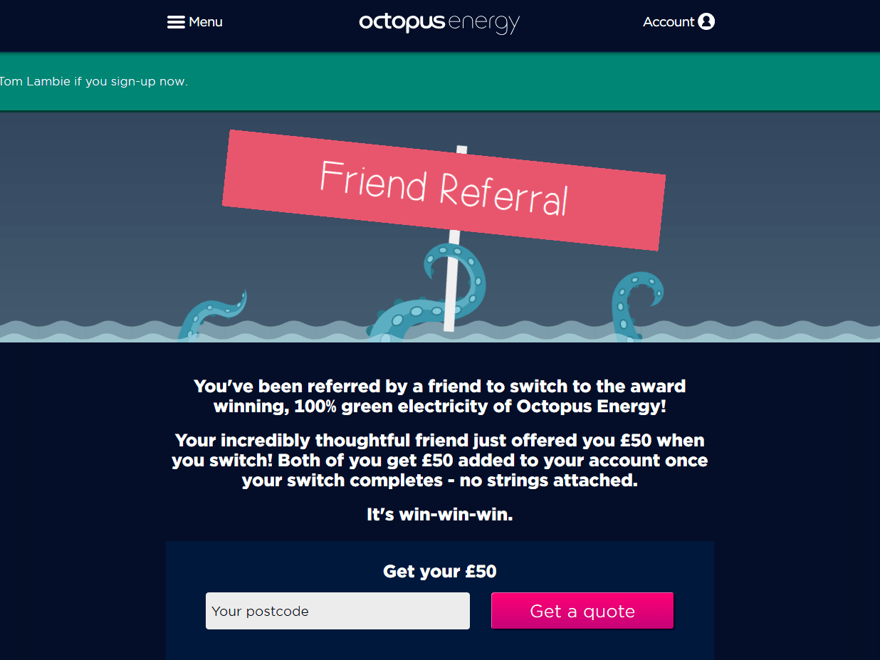 Get Fifty pounds credit with Octopus Energy