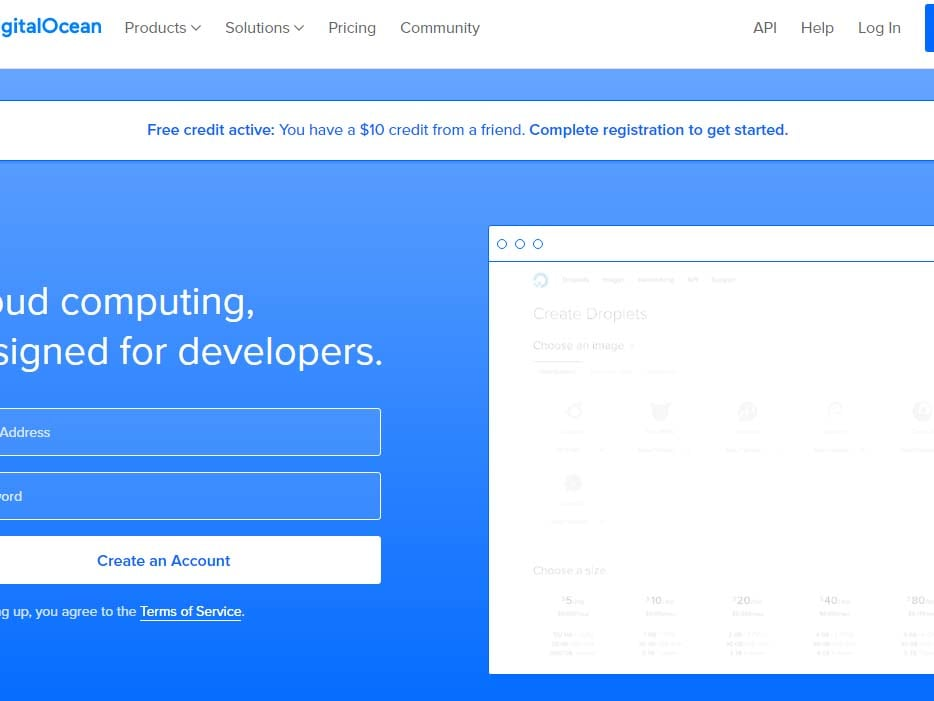 $10 DigitalOcean credit on signup