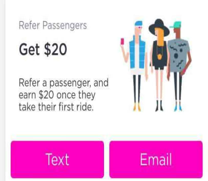 Refer a passenger, and earn $20 once they take first ride.