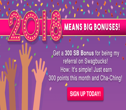 Get a $3 bonus for being my referral on Swagbucks! Sign up today and when you earn 300 SB within a month, you'll get a 300 SB bonus!