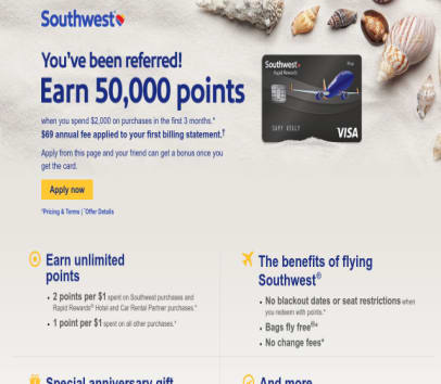 50,000 point  with southwest