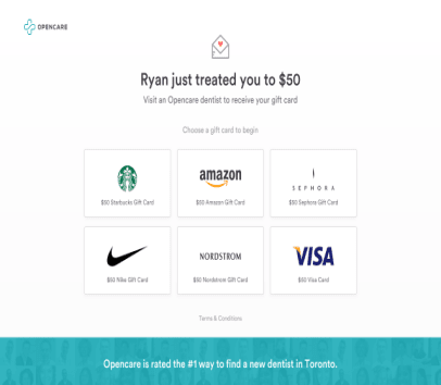 $50 Gift Card; VISA, AMAZON, STARBUCKS, SEPHORA. Book a first-time Dentist in Toronto, Canada through OPENCARE