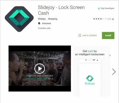 Get 100 Points on slidejoy lock screen app through my link