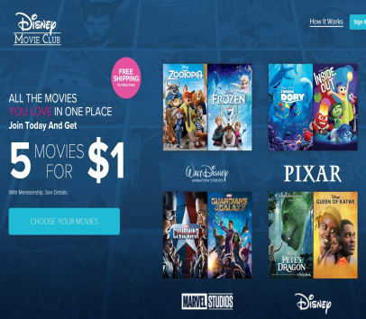 Get 5 Disney, Marvel, or Star Wars Blu-Rays or DVD's for $1