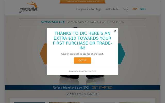 Gazelle Signup Bonus - Get extra $10 on Gazelle com for your first