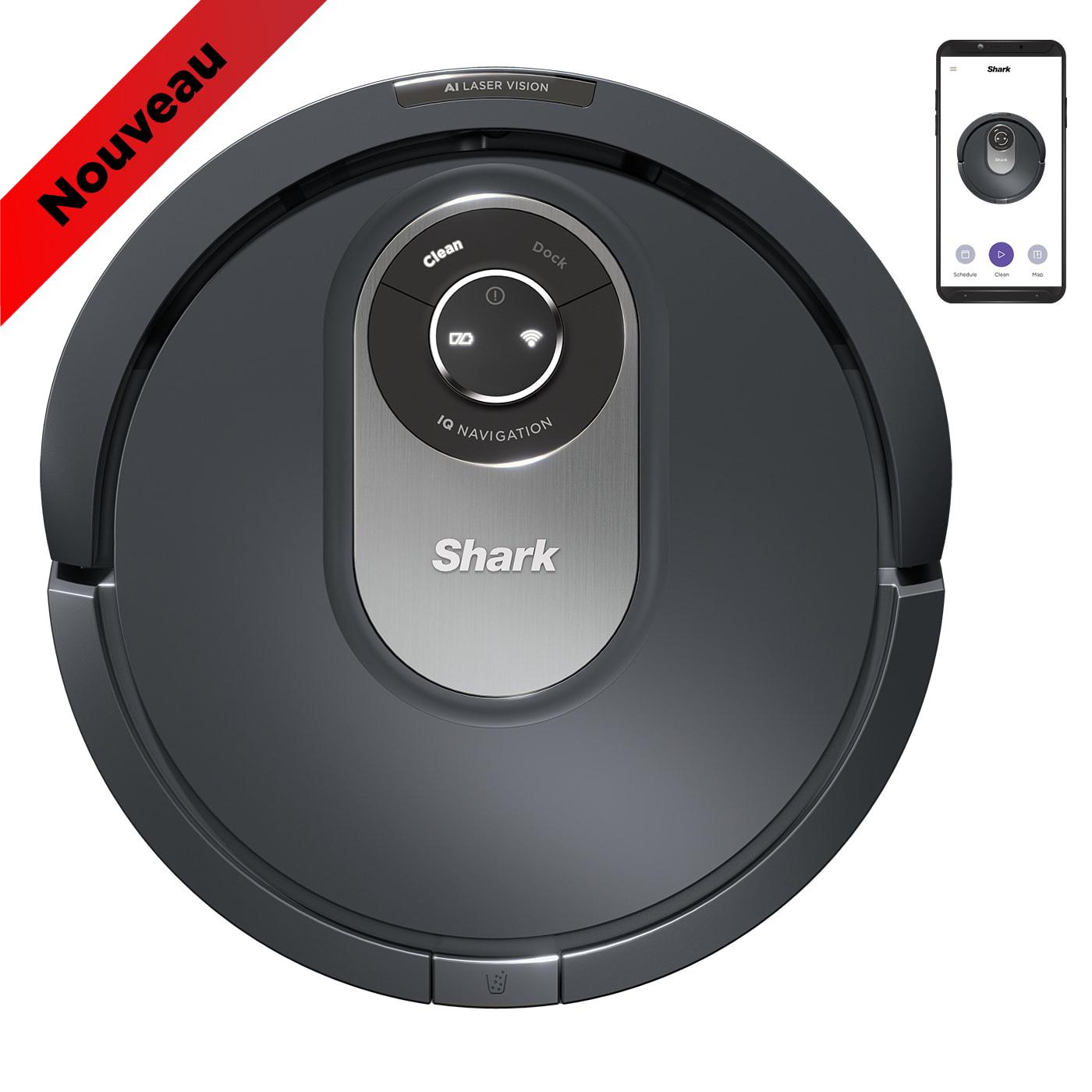 Aspirateur robot Shark RV2001EU, connectivité Wi-Fi, anti-emmêlement de cheveux, détecteur d'obstacles, nettoyage linéaire photo du produit