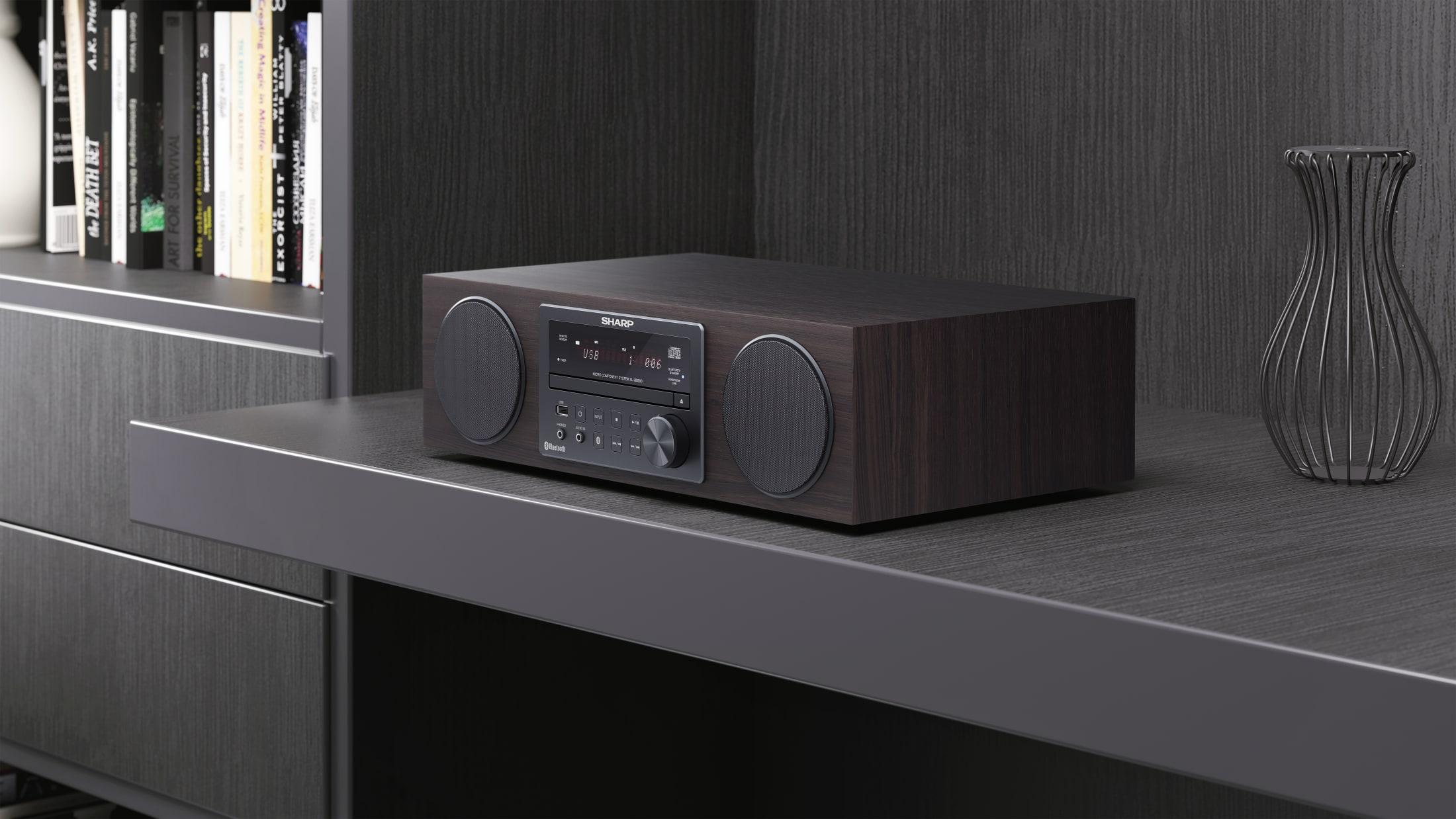 System dźwięku Hi-Fi All-in-One, 100 W, z bezprzewodowym strumieniowaniem muzyki przez Bluetooth, Odtwarzacz CD, Tuner DAB/DAB+/FM i pilot.