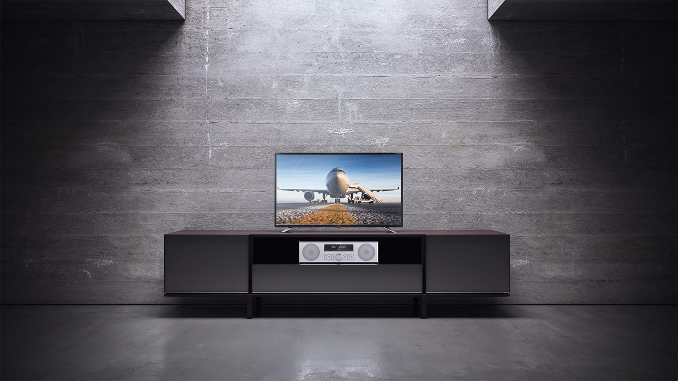 All-in-One Stereo Sound System, 90 W, reddot design award winner 2018, with Bluetooth wireless music streaming, CD player, DAB/DAB+/FM tuner and remote control.