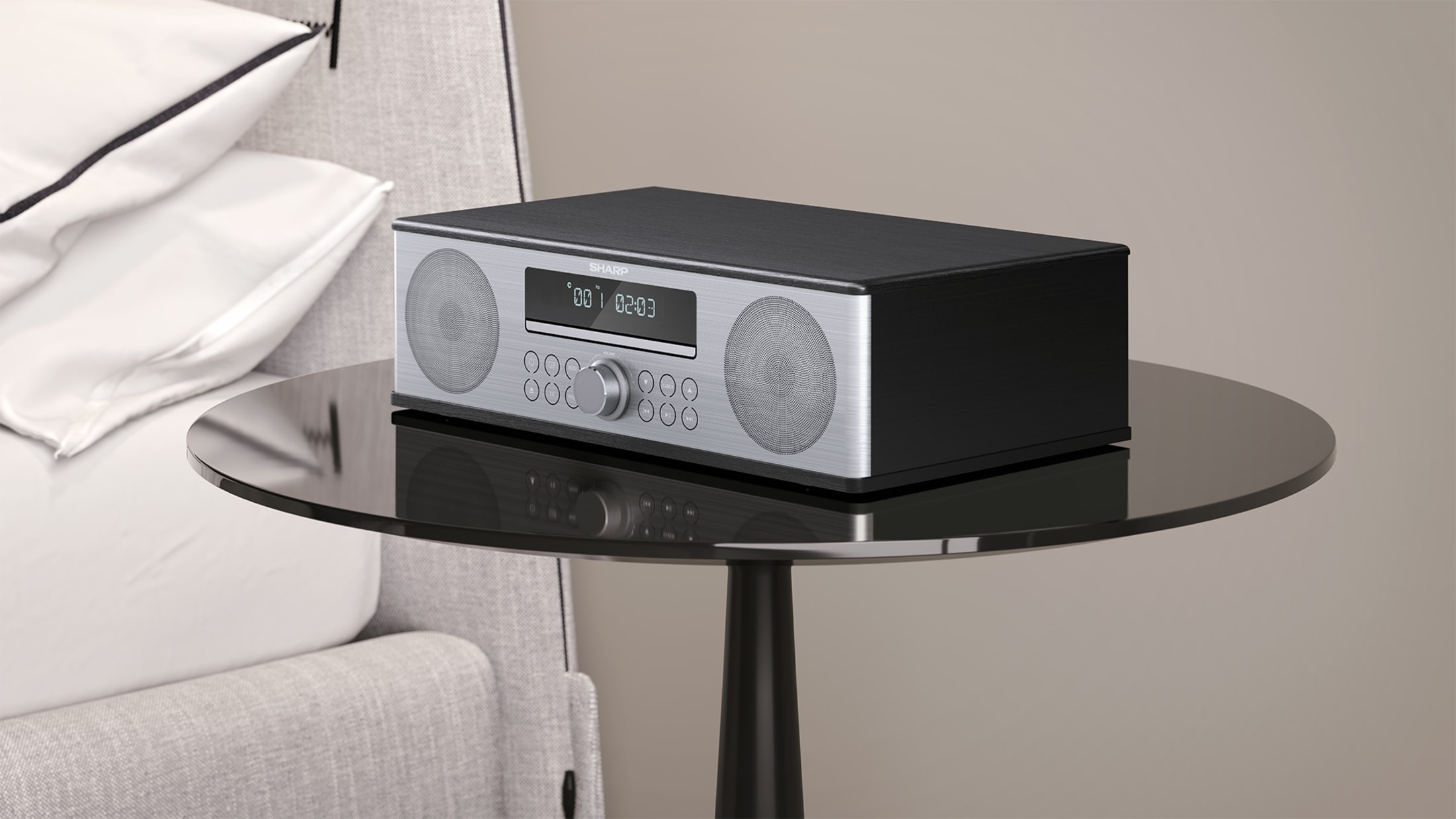 All-in-One Stereo Sound System, 90 W, reddot design award winner 2018, with Bluetooth wireless music streaming, CD player, FM tuner and remote control.