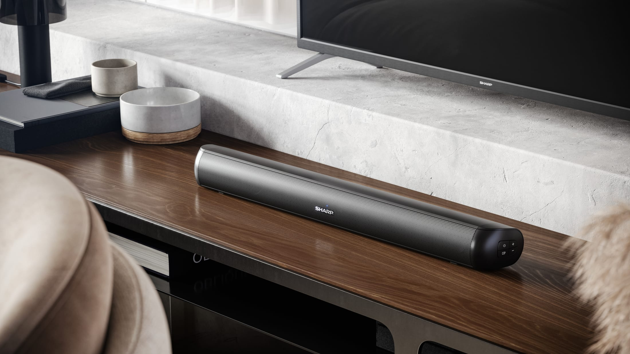 "Compact Soundbar designed for small screen TVs and gaming monitors 32"" and below"
