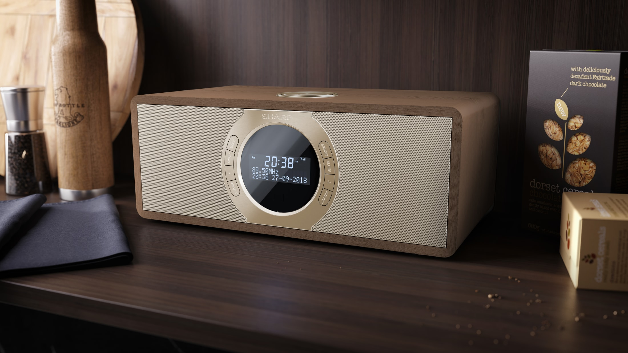 Stereo Digitalradio DAB/DAB+/FM with RDS, 30 W, Bluetooth 4.2 and 60 station memory.