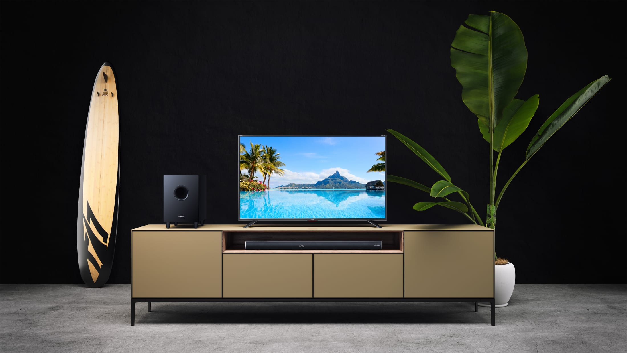 3.1 Home Theater with wireless Subwoofer, 600 W, Dolby Digital and Bluetooth wireless music streaming. Suitable for 43 inch TV and above.