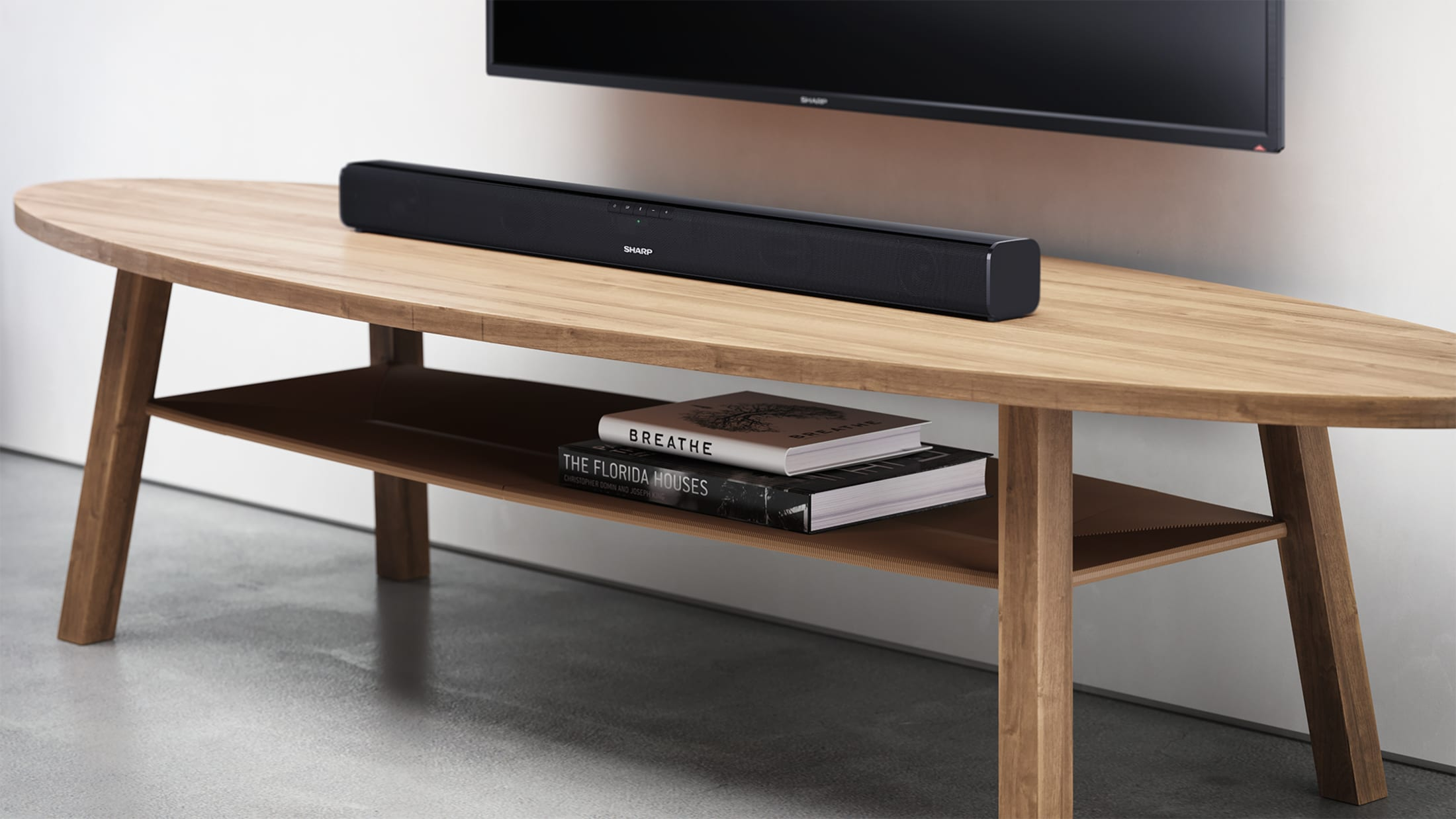 2.0 Slim Soundbar with 90 W and Bluetooth wireless music streaming. Suitable for 37 inch TV and above.