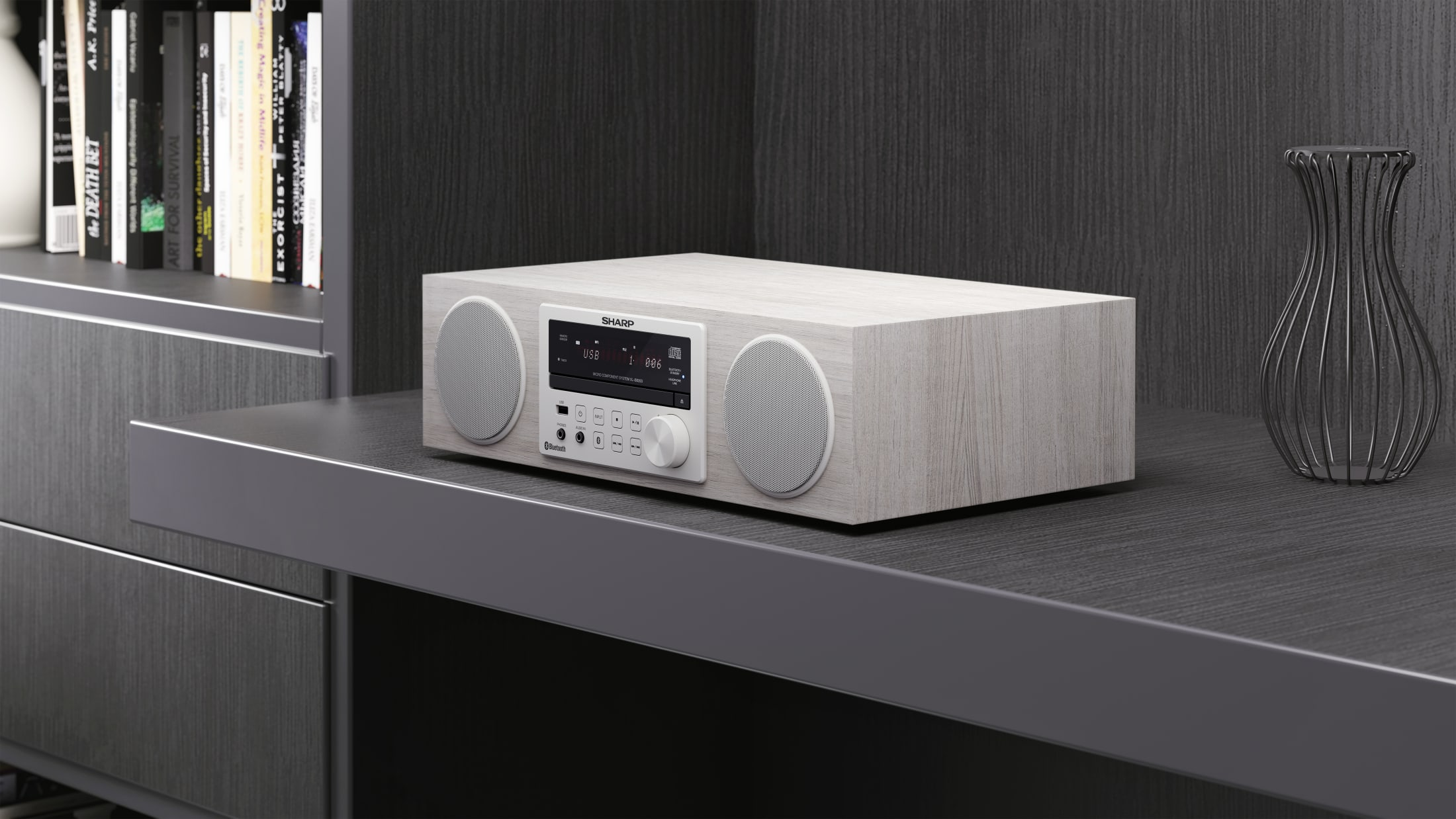 All-in-One Hi-Fi Sound System, 100 W, with Bluetooth wireless music streaming, CD player, DAB/DAB+/FM tuner and remote control.