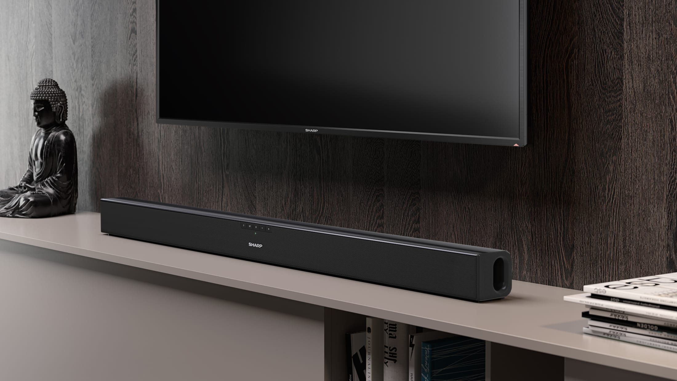 2.0 Slim Soundbar with 150 W and Bluetooth wireless music streaming. Suitable for 43 inch TV and above.