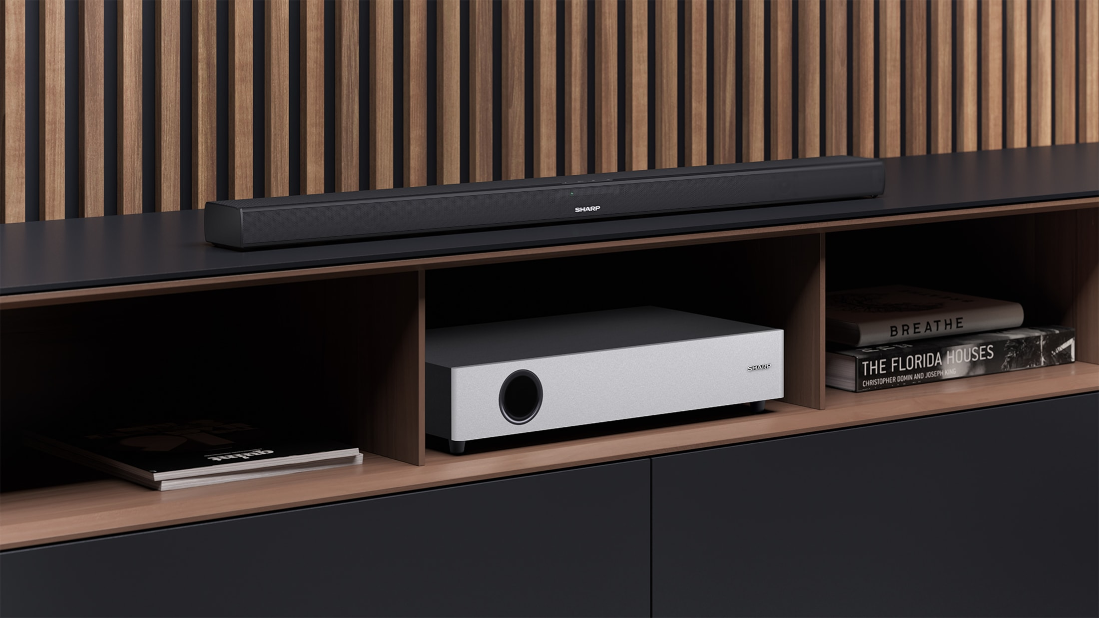 2.1 Ultra Slim Soundbar with flat wireless Subwoofer, 360 W and Bluetooth wireless music streaming. Suitable for 40 inch TV and above.