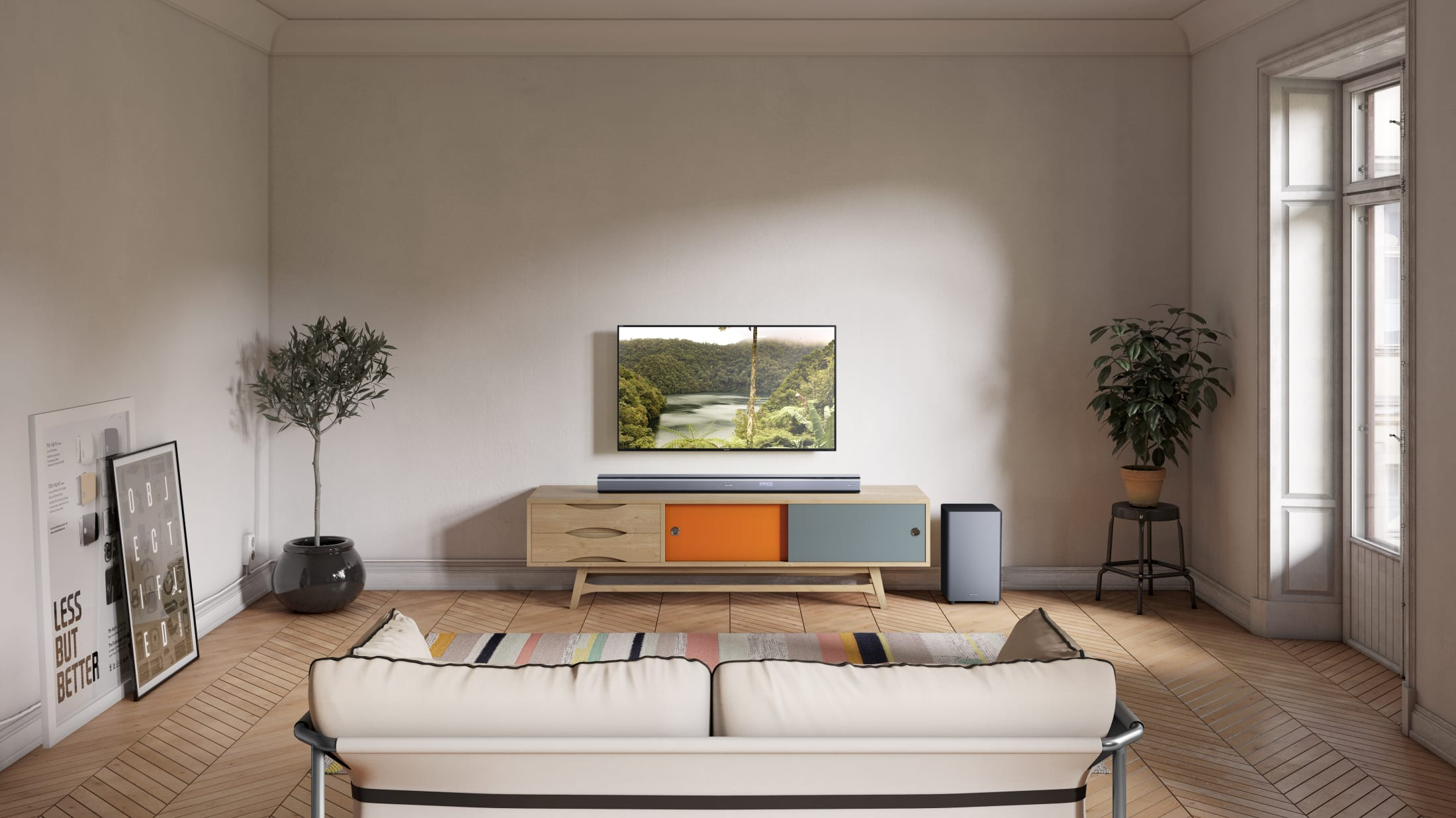 5.1.2 Dolby Atmos Soundbar with wireless Subwoofer, 760 W and with immersive 3D surround sound. Suitable for 55 inch TV and above.