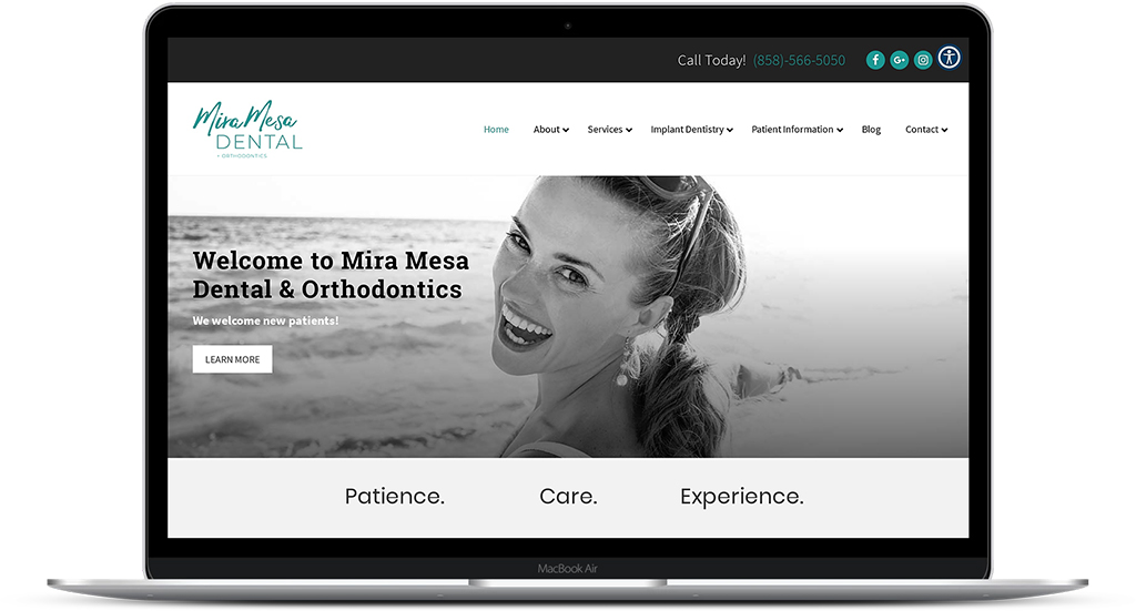 Mira Mesa Dental & Orthodontics website image