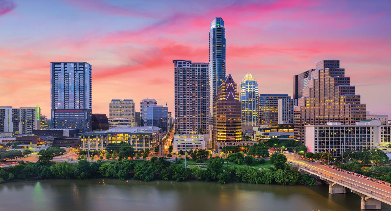 Austin Texas skyline, new Shearman & Sterling office in Austin
