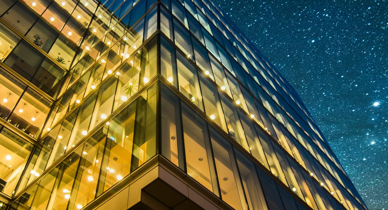 building with stars above