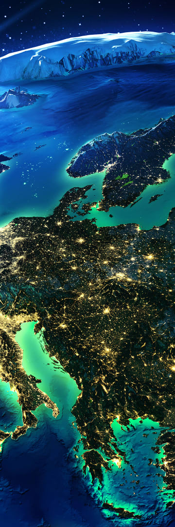 Europe Regions Map With Lights of Europe
