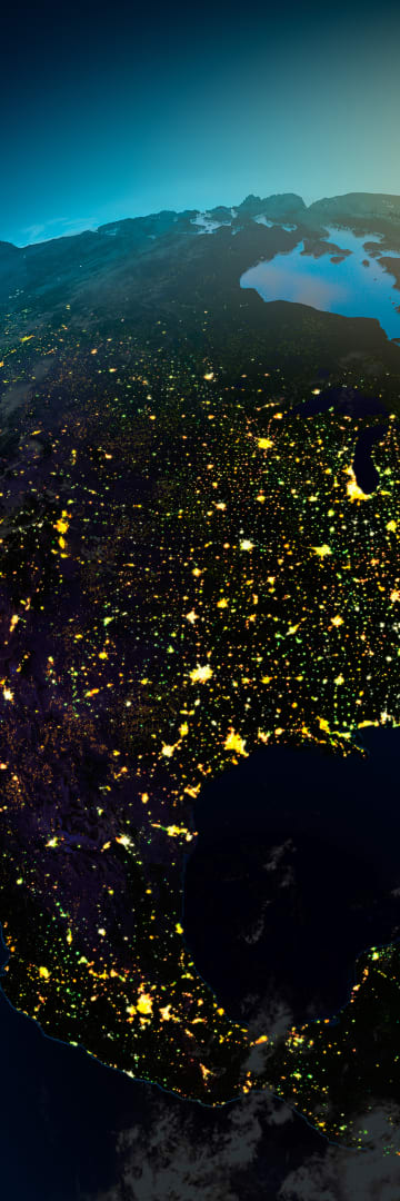 North America Regions North America Map Light Up