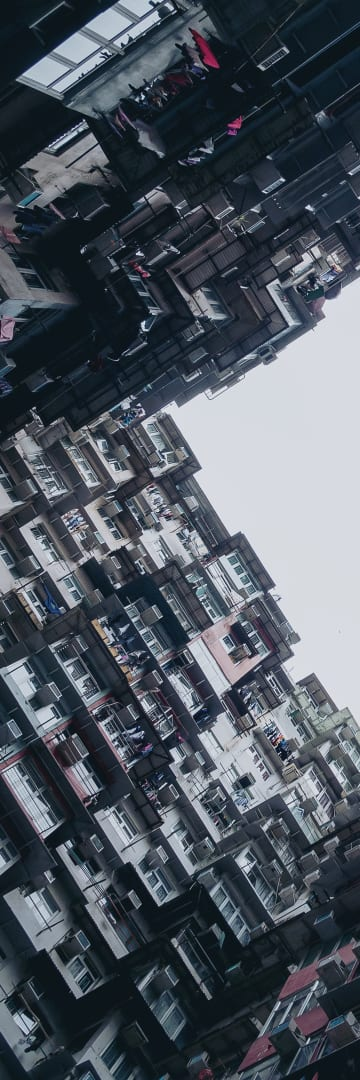 Community, Hong Kong, colorful apartment terraces