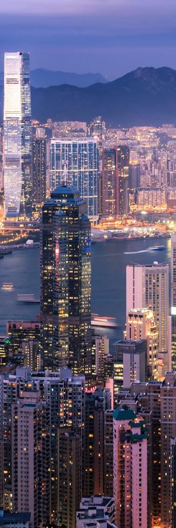 Hong Kong, as viewed from Victoria Peak observation deck looking north toward Victoria Harbor