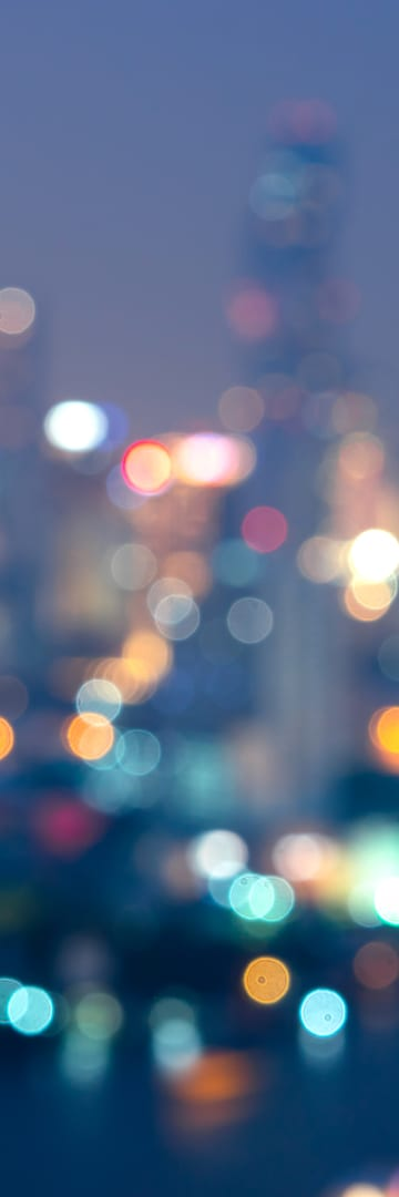 Blurred city lights at night