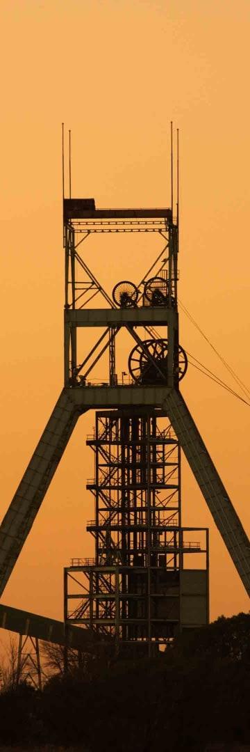 Mining head frame, mining tower