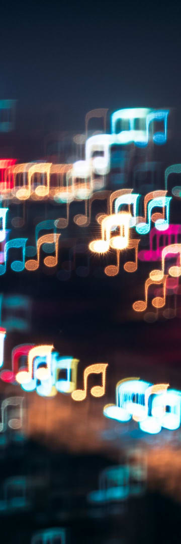 Colorful music notes, music melody