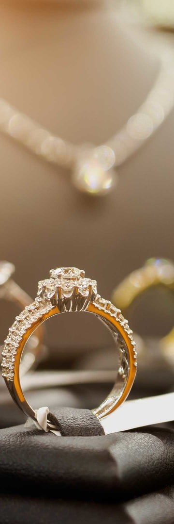 Retail Industry, diamond rings and necklace