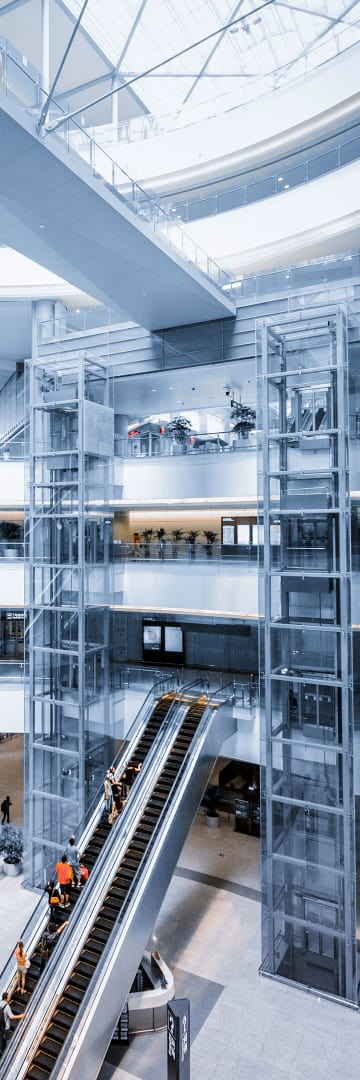 Retail & Consumer, shopping mall escalators