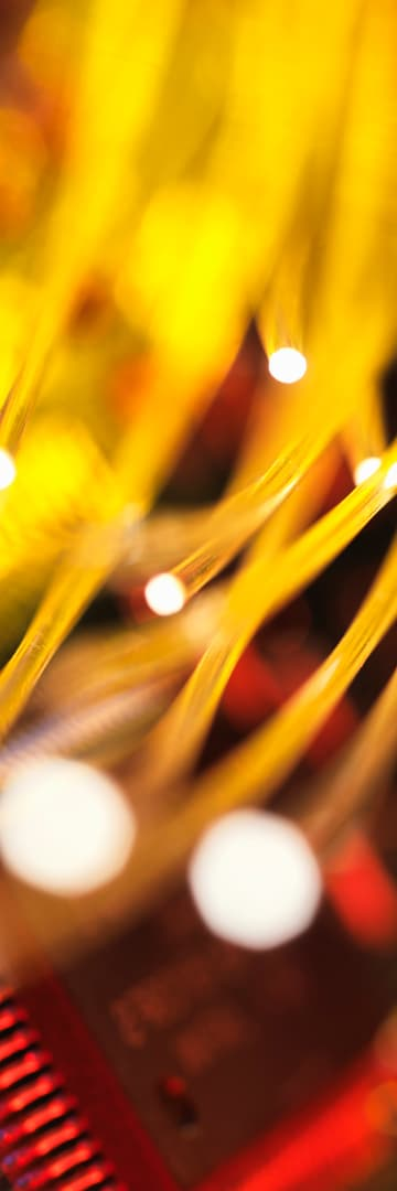 Telecommunications industry, cut fiber wires, circuit board