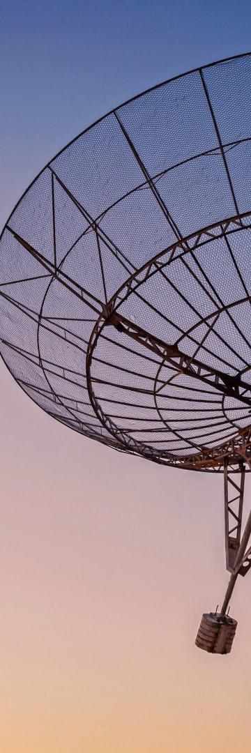 Satellite at sunset, telecom